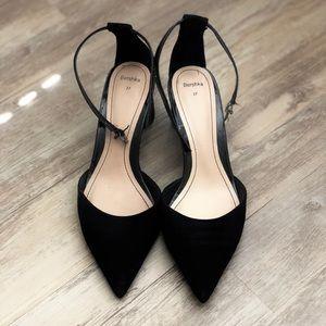 Black heeled sandals US 7 Bershka velvet new